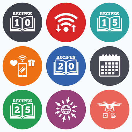 15 20: Wifi, mobile payments and drones icons. Cookbook icons. 10, 15, 20 and 25 recipes book sign symbols. Calendar symbol. Illustration
