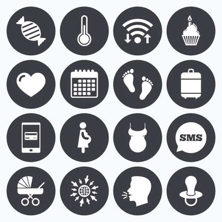 Wifi, calendar and mobile payments. Pregnancy, maternity and baby care icons. Candy, baby carriage and pacifier signs. Footprint, cake and thermometer symbols. Sms speech bubble, go to web symbols.