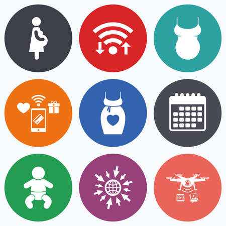 maternity: Wifi, mobile payments and drones icons. Maternity icons. Baby infant, pregnancy and shirt signs. Dress with heart symbol. Calendar symbol.