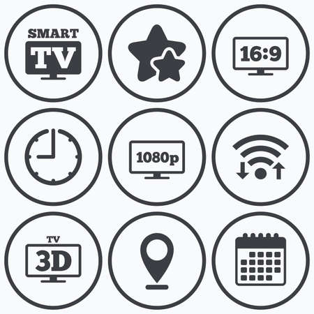 3d mode: Clock, wifi and stars icons. Smart TV mode icon. Aspect ratio 16:9 widescreen symbol. Full hd 1080p resolution. 3D Television sign. Calendar symbol.