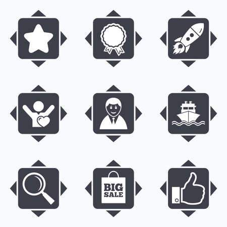 Icons with direction arrows. Online shopping, e-commerce and business icons. Start up, award and customers like signs. Big sale, shipment and favorite symbols. Square buttons. Ilustração