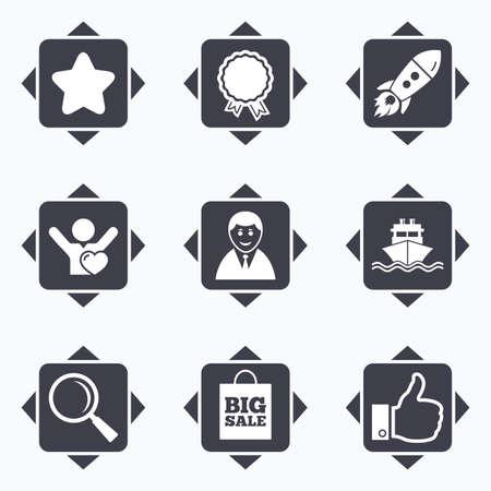 Pictogrammen met richtingpijlen. Online winkelen, e-commerce en zakelijke pictogrammen. Opstarten, prijzen en klanten houden van tekens. Grote verkoop, verzending en favoriete symbolen. Vierkante knoppen.