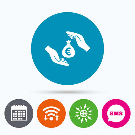 protect globe: Wifi, Sms and calendar icons. Protection money bag sign icon. Hands protect cash in Euro symbol. Money or savings insurance. Go to web globe.