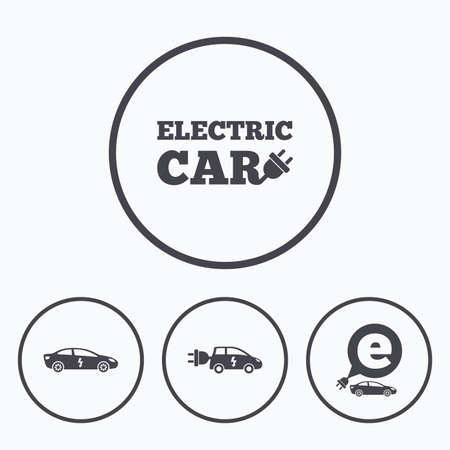 electric vehicles: Electric car icons. Sedan and Hatchback transport symbols. Eco fuel vehicles signs. Icons in circles.
