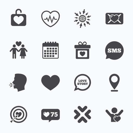 oath: Calendar, go to web and like counter. Love, valentine day icons. Target with heart, oath letter and locker symbols. Couple lovers, heartbeat signs. Sms speech bubble, talk symbols. Illustration