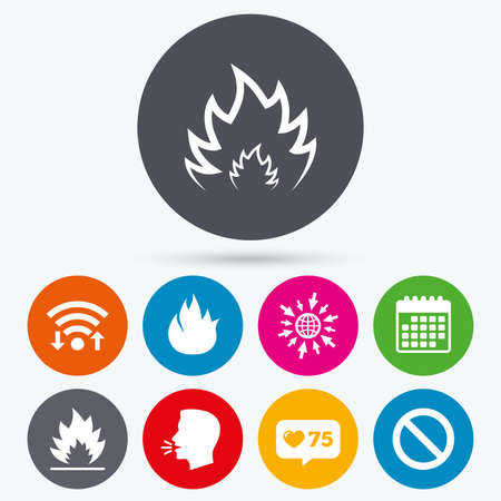 flame like: Wifi, like counter and calendar icons. Fire flame icons. Prohibition stop sign symbol. Human talk, go to web.