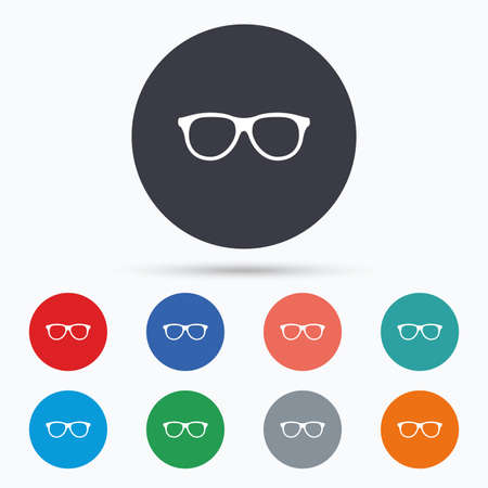 eyeglass frame: Retro glasses sign icon. Eyeglass frame symbol. Flat glasses icon. Simple design glasses symbol. Glasses graphic element. Circle buttons with glasses icon. Vector