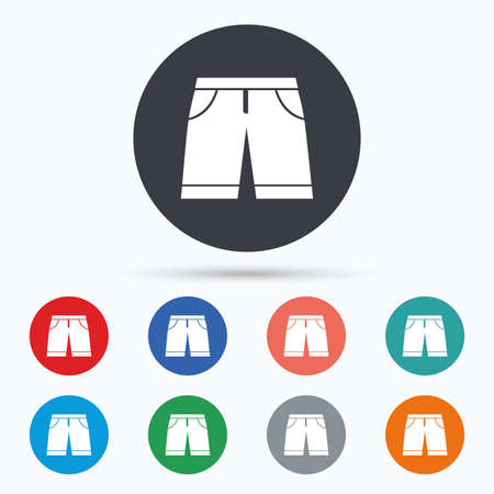 beachwear: Mens Bermuda shorts sign icon. Clothing symbol. Flat bermuda shorts icon. Simple design bermuda shorts symbol. Bermuda shorts graphic element. Circle buttons with bermuda shorts icon. Vector Illustration