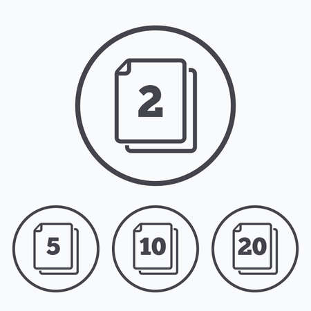 quantity: In pack sheets icons. Quantity per package symbols. 2, 5, 10 and 20 paper units in the pack signs. Icons in circles.