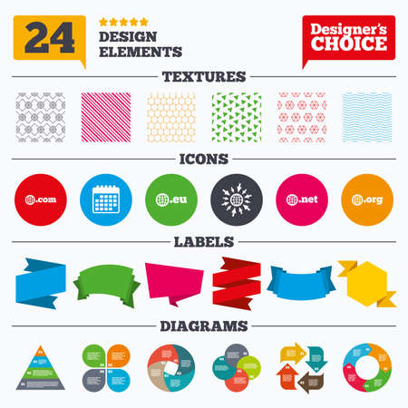 org: Banner tags, stickers and chart graph. Top-level internet domain icons. Com, Eu, Net and Org symbols with globe. Unique DNS names. Linear patterns and textures.