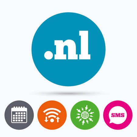 nl: Wifi, Sms and calendar icons. Domain NL sign icon. Top-level internet domain symbol. Go to web globe.