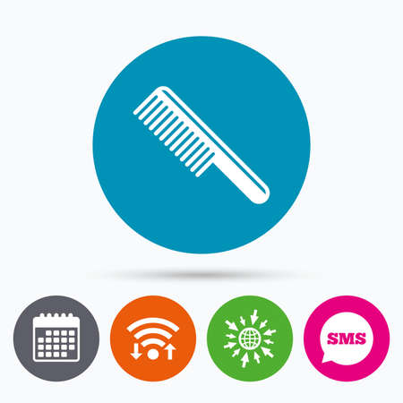 hairstyling: Wifi, Sms and calendar icons. Comb hair sign icon. Barber symbol. Go to web globe.