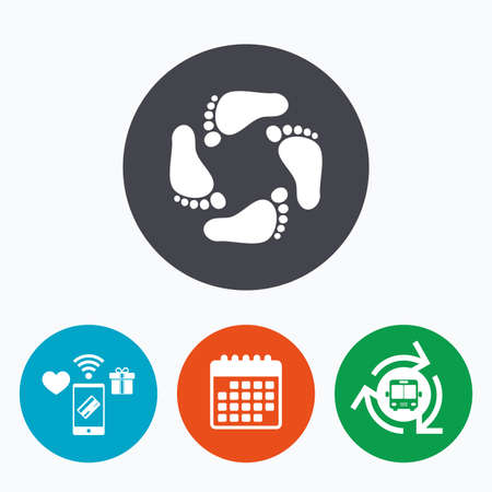 Baby footprints icon. Child barefoot steps. Toddler feet symbol. Mobile payments, calendar and wifi icons. Bus shuttle.