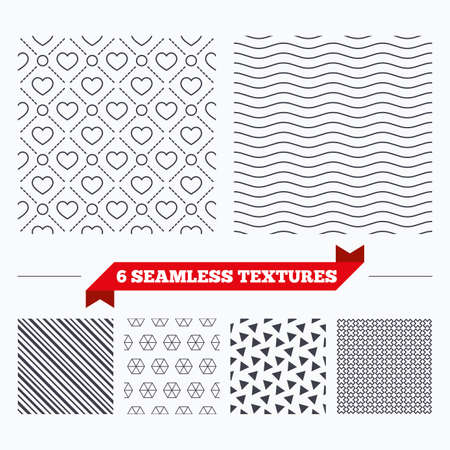 texturing: Diagonal lines, waves and geometry design. Hearts with circles lines texture. Stripped geometric seamless pattern. Modern repeating stylish texture. Material patterns. Illustration