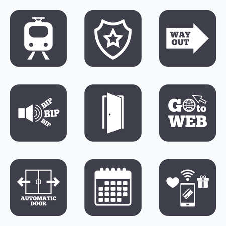 way to go: Mobile payments, wifi and calendar icons. Train railway icon. Automatic door symbol. Way out arrow sign. Go to web symbol. Illustration