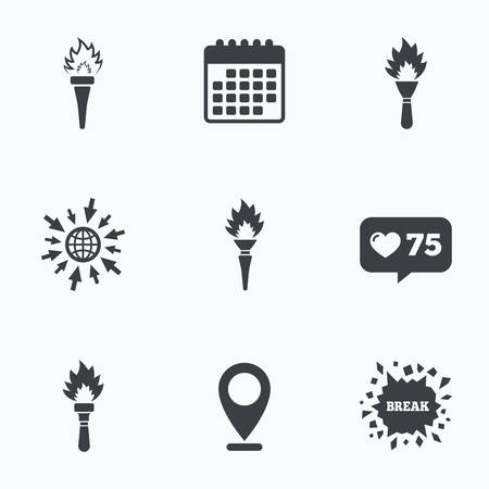 hand tool: Calendar, like counter and go to web icons. Torch flame icons. Fire flaming symbols. Hand tool which provides light or heat. Location pointer.