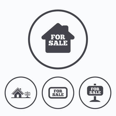 house for sale: For sale icons. Real estate selling signs. Home house symbol. Icons in circles.