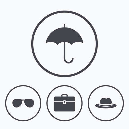 business case: Clothing accessories icons. Umbrella and sunglasses signs. Headdress hat with business case symbols. Icons in circles.