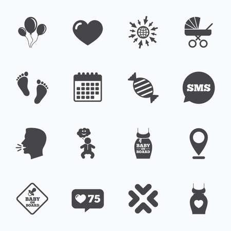 bebe a bordo: Calendario, ir a la web y contador similares. Embarazo, maternidad y cuidado del bebé iconos. Recién nacido, cochecitos y signos chupete. Huella, dulces y símbolos del amor. burbuja de diálogo sms, símbolos de entrevistas.