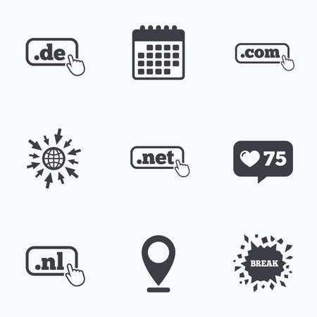 dot com: Calendar, like counter and go to web icons. Top-level internet domain icons. De, Com, Net and Nl symbols with hand pointer. Unique national DNS names. Location pointer. Illustration