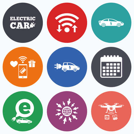 electric vehicles: Wifi, mobile payments and drones icons. Electric car icons. Sedan and Hatchback transport symbols. Eco fuel vehicles signs. Calendar symbol.