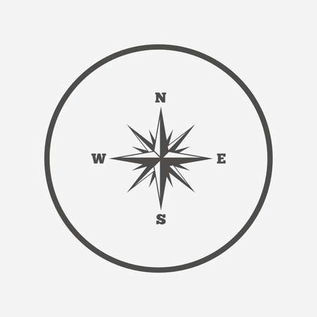 windrose: Compass sign icon. Windrose navigation symbol. Flat windrose compass icon. Simple design windrose compass symbol. Windrose compass graphic element. Round button with flat windrose compass icon. Vector Illustration