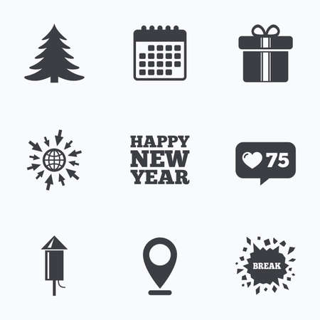 new year counter: Calendar, like counter and go to web icons. Happy new year icon. Christmas tree and gift box signs. Fireworks rocket symbol. Location pointer. Illustration