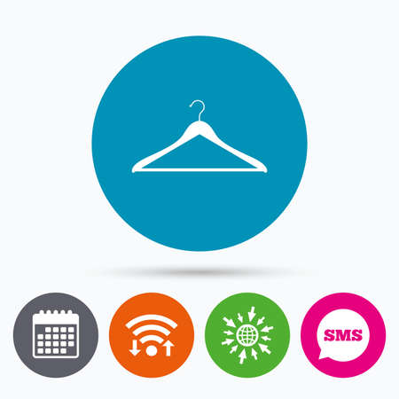 closet communication: Wifi, Sms and calendar icons. Hanger sign icon. Cloakroom symbol. Go to web globe.