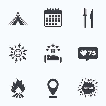 breakfast in bed: Calendar, like counter and go to web icons. Food, sleep, camping tent and fire icons. Knife and fork. Hotel or bed and breakfast. Road signs. Location pointer.