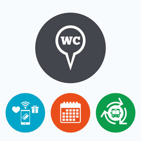 lavatory: WC Toilet sign icon. Restroom or lavatory map pointer symbol. Mobile payments, calendar and wifi icons. Bus shuttle. Illustration