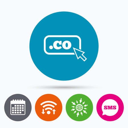 co: Wifi, Sms and calendar icons. Domain CO sign icon. Top-level internet domain symbol with cursor pointer. Go to web globe.