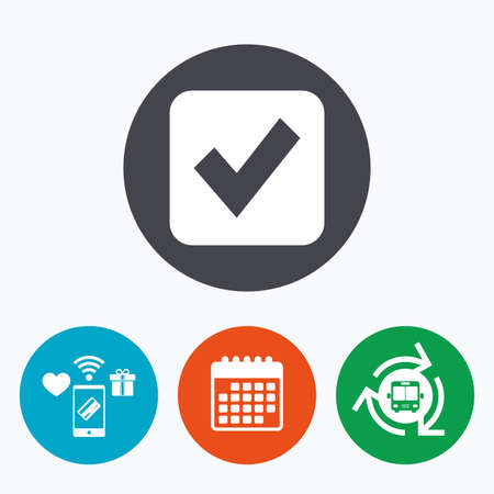 checkbox: Check mark sign icon. Checkbox button. Mobile payments, calendar and wifi icons. Bus shuttle. Illustration