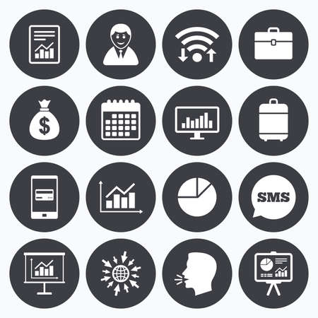 business symbol: Wifi, calendar and mobile payments. Statistics, accounting icons. Charts, presentation and pie chart signs. Analysis, report and business case symbols. Sms speech bubble, go to web symbols.