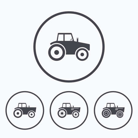 agricultural: Tractor icons. Agricultural industry transport symbols. Icons in circles. Illustration