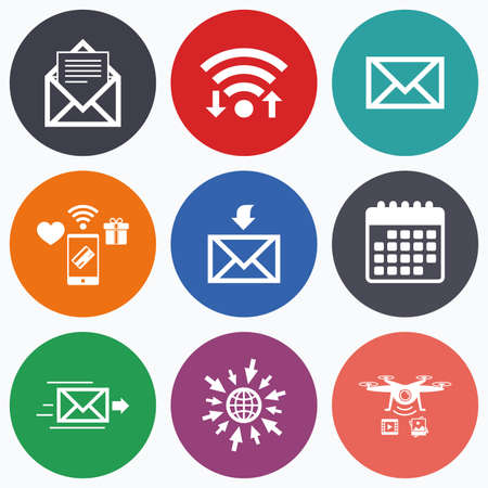 outbox: Wifi, mobile payments and drones icons. Mail envelope icons. Message document delivery symbol. Post office letter signs. Inbox and outbox message icons. Calendar symbol.