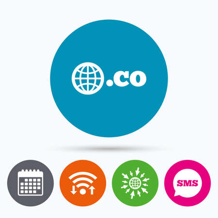 co: Wifi, Sms and calendar icons. Domain CO sign icon. Top-level internet domain symbol with globe. Go to web globe.