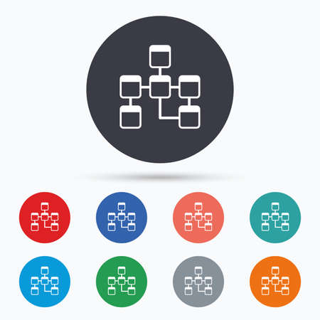 relational: Database sign icon. Relational database schema. Flat database icon. Simple design database symbol. Database graphic element. Circle buttons with database icon. Vector
