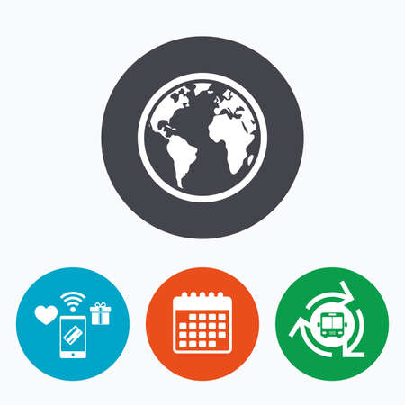 geography: Globe sign icon. World map geography symbol. Mobile payments, calendar and wifi icons. Bus shuttle.