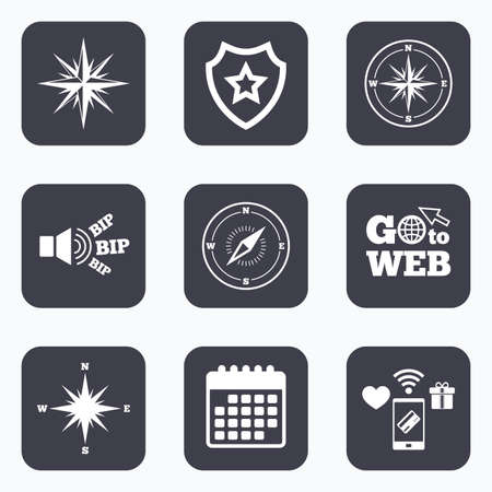 windrose: Mobile payments, wifi and calendar icons. Windrose navigation icons. Compass symbols. Coordinate system sign. Go to web symbol. Illustration