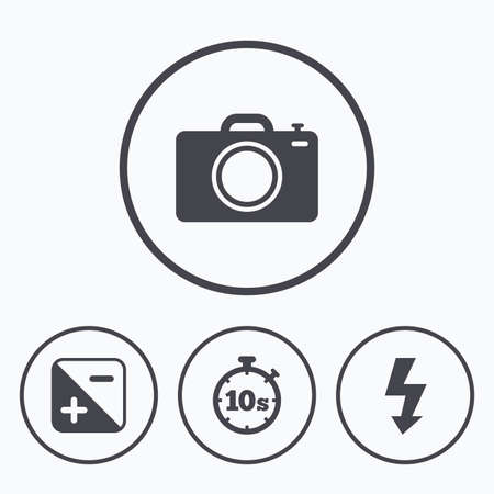 seconds: Photo camera icon. Flash light and exposure symbols. Stopwatch timer 10 seconds sign. Icons in circles. Illustration