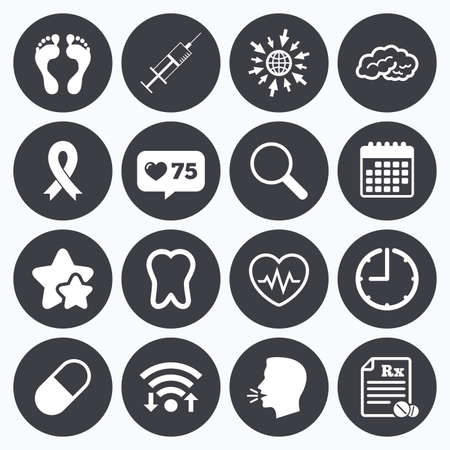 cancer foot: Calendar, wifi and clock symbols. Like counter, stars symbols. Medicine, medical health and diagnosis icons. Syringe injection, heartbeat and pills signs. Tooth, neurology symbols. Talking head, go to web symbols. Vector