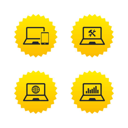 laptop repair: Notebook laptop pc icons. Internet globe sign. Repair fix service symbol. Monitoring graph chart. Yellow stars labels with flat icons. Vector