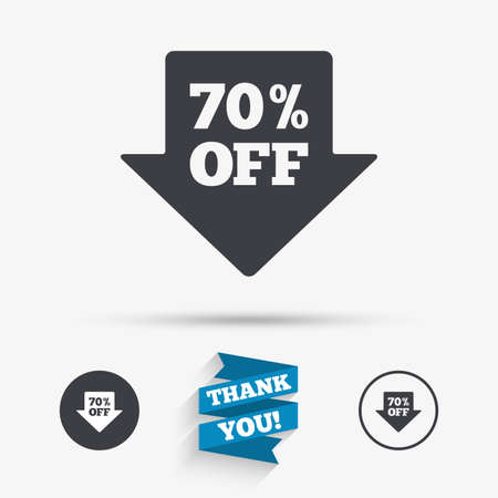 you are special: 70% sale arrow tag sign icon. Discount symbol. Special offer label. Flat icons. Buttons with icons. Thank you ribbon. Vector Illustration
