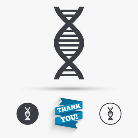 deoxyribonucleic: DNA sign icon. Deoxyribonucleic acid symbol. Flat icons. Buttons with icons. Thank you ribbon. Vector