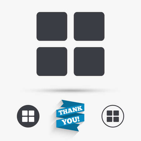 thumbnails: Thumbnails sign icon. Gallery view option symbol. Flat icons. Buttons with icons. Thank you ribbon. Vector