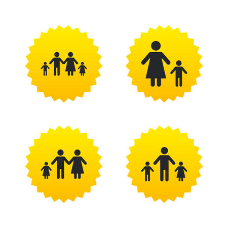 family with two children: Family with two children icon. Parents and kids symbols. One-parent family signs. Mother and father divorce. Yellow stars labels with flat icons. Vector