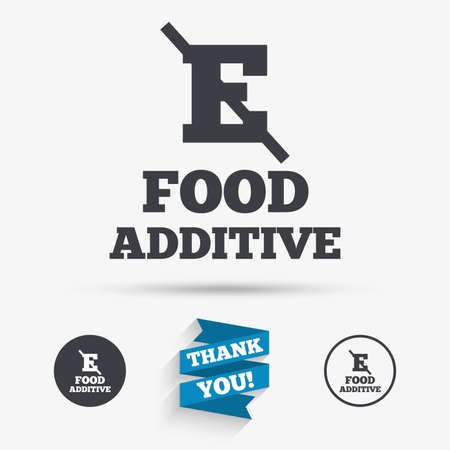stabilizers: Food additive sign icon. Without E symbol. Healthy natural food. Flat icons. Buttons with icons. Thank you ribbon. Vector