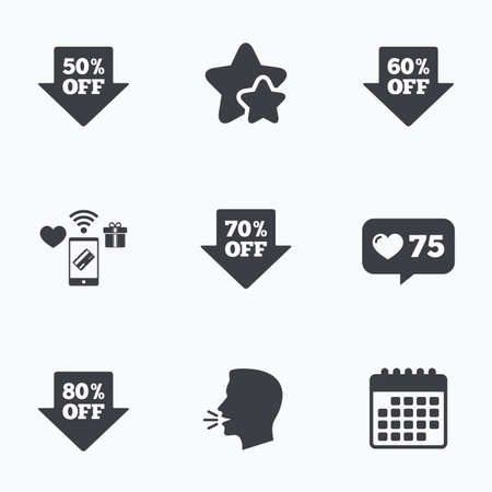 50 to 60: Sale arrow tag icons. Discount special offer symbols. 50%, 60%, 70% and 80% percent off signs. Flat talking head, calendar icons. Stars, like counter icons. Vector