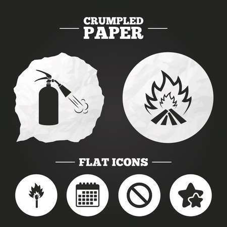 burning paper: Crumpled paper speech bubble. Fire flame icons. Fire extinguisher sign. Prohibition stop symbol. Burning matchstick. Paper button. Vector