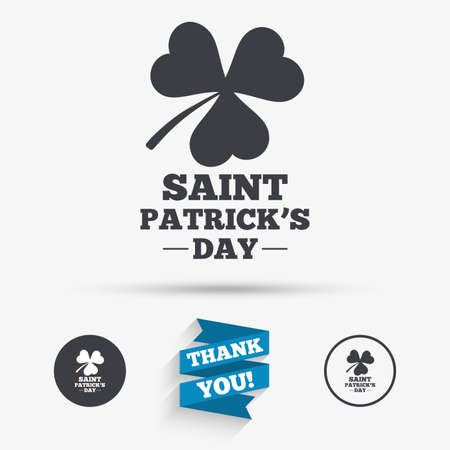 clover buttons: Clover with three leaves sign icon. Saint Patrick trefoil shamrock symbol. Flat icons. Buttons with icons. Thank you ribbon. Vector